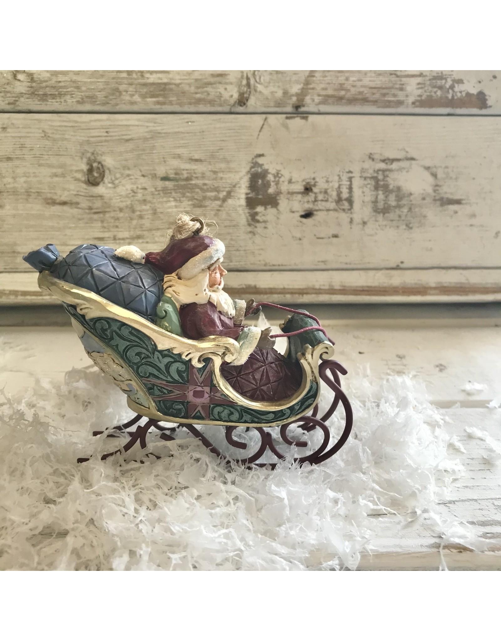 Jim Shore Santa in Sleigh Worldwide Ornament
