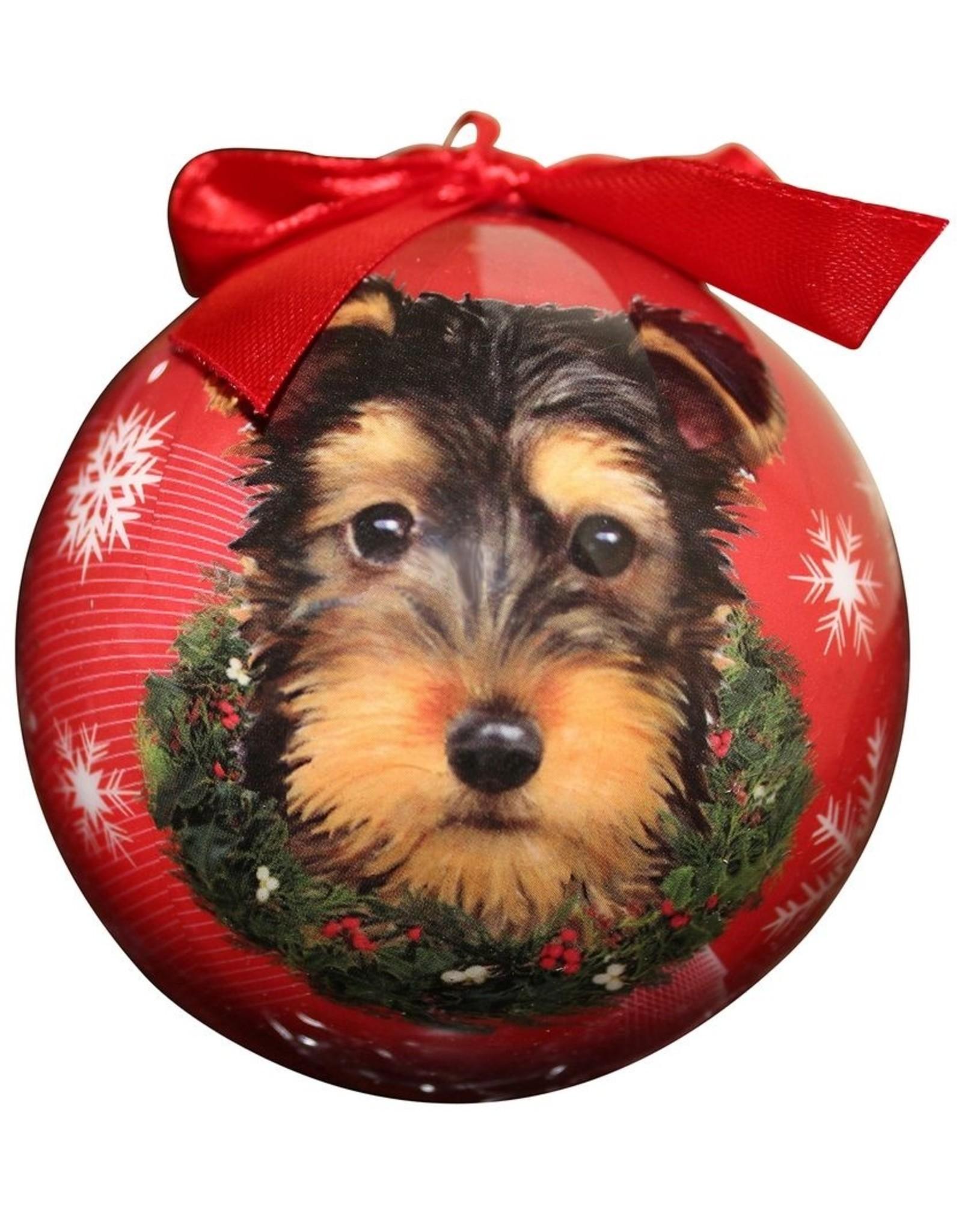 E&S Pets Yorkie Puppy Ball Ornament