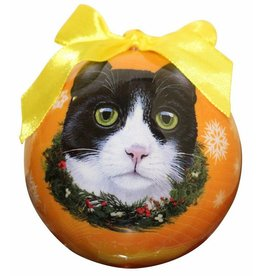 E&S Pets Black and White Cat Ball Ornament