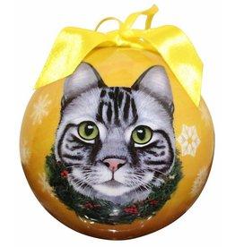 E&S Pets Silver Tabby Cat Ball Ornament