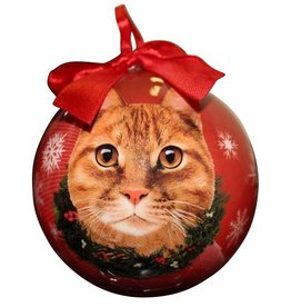 E&S Pets Orange Tabby Cat Ball Ornament
