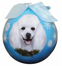 E&S Pets White Poodle Ball Ornament