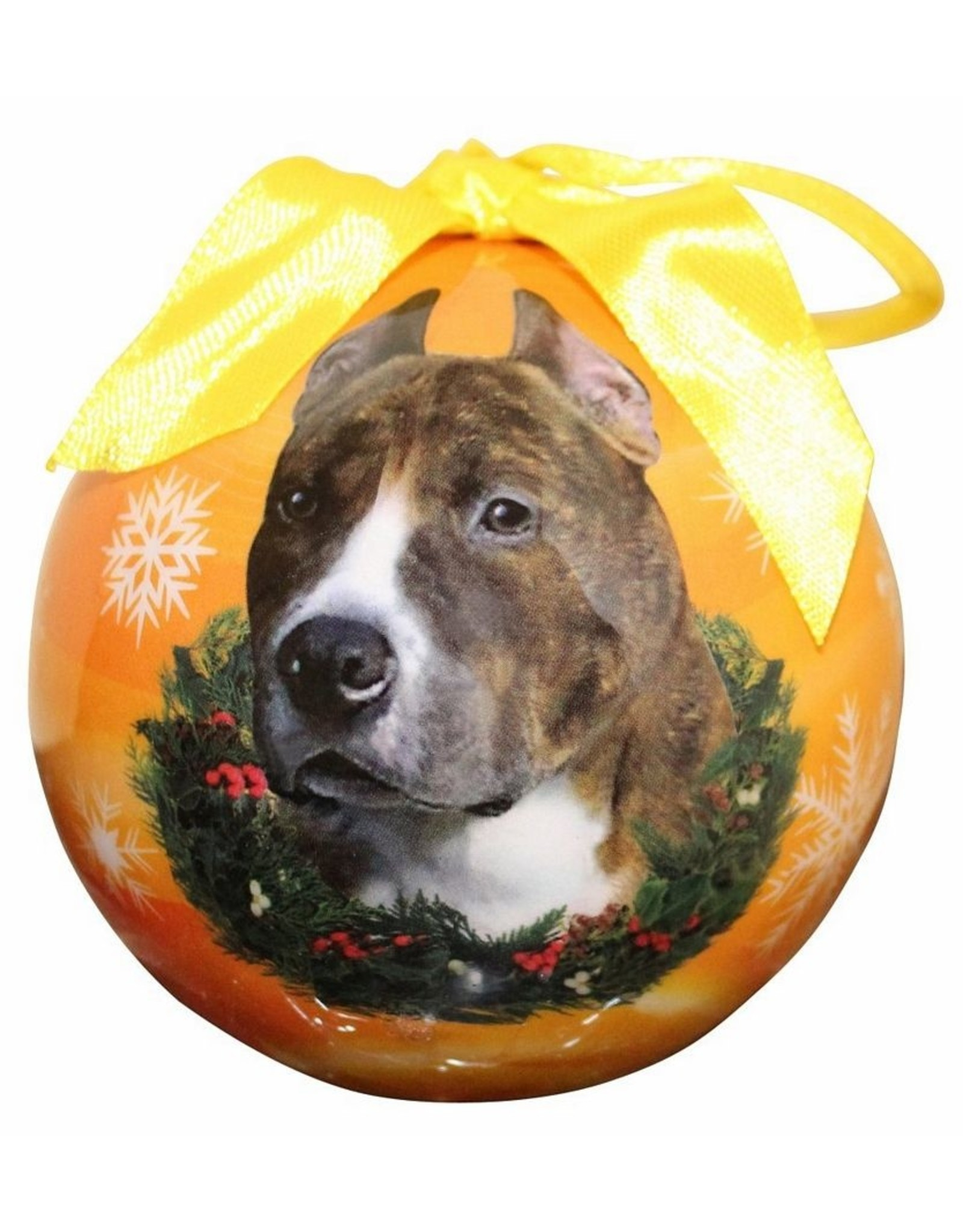 E&S Pets Brindle & White Pit Bull Ball Ornament