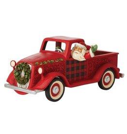 Jim Shore Santa in Large Red Truck