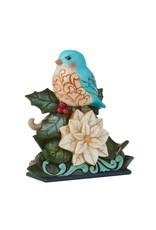 Jim Shore Festive & Feathered Bluebird on Poinsettia