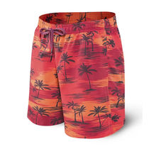 SAXX CANNONBALL 2N1 LONG BOARDSHORT RED PALM SUNSET