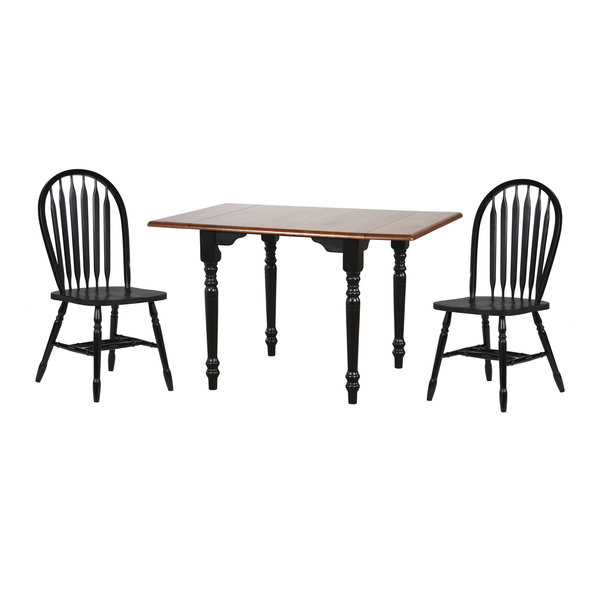 Sunset Trading 3 Piece Drop Leaf Dining Set with Arrowback Chairs
