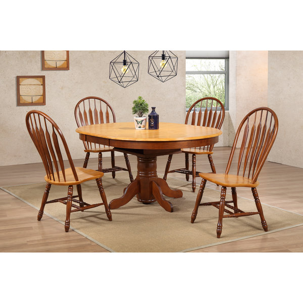 "Sunset Trading 48"" Round Butterfly Leaf Table & 4 Comfort back Chairs"