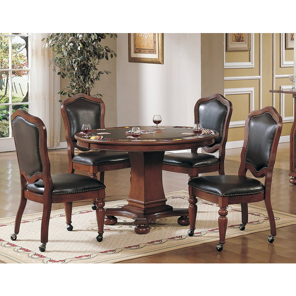 Sunset Trading 5 Piece Bellagio Dining and Poker Table Set l Reversible Game Top l Caster Chairs with Nailheads