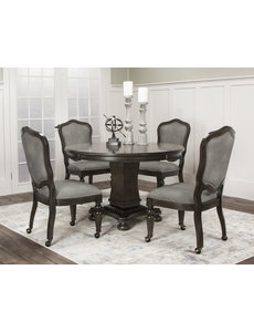 Sunset Trading 5 Piece Vegas Dining and Poker Table Set l Reversible Game Top l Gray Wood l Caster Chairs with Nailheads