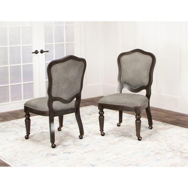 Sunset Trading Vegas Gaming and Dining Chair l Distressed Gray Wood l Nailheads l Casters l Set of 2 RTA