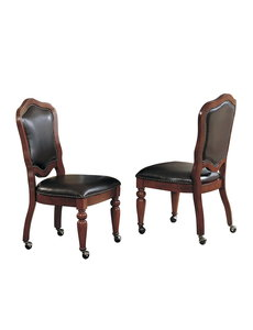 Sunset Trading Bellagio Gaming and Dining Chair l Distressed Brown Cherry Wood l Nailheads l Casters l Set of 2