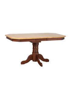Sunset Trading Pedestal Extendable Dining Table l Nutmeg with Light Oak Top