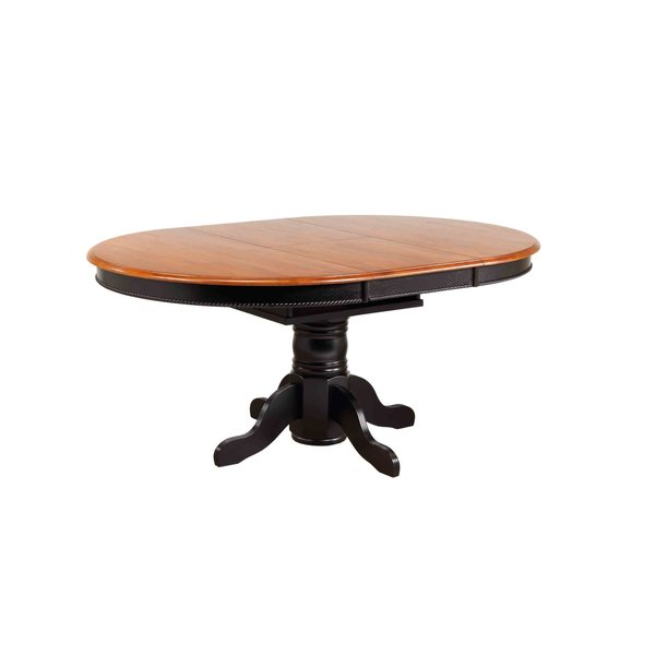Sunset Trading Pedestal Dining Table l Antique Black with Cherry Butterfly Top