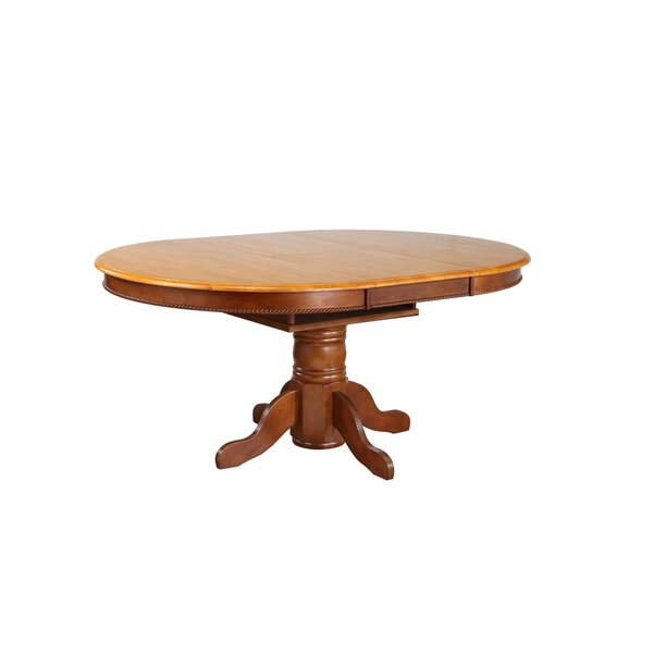 Sunset Trading Pedestal Dining Table l Nutmeg with Light Oak Butterfly Top