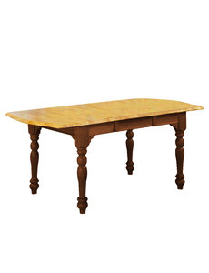 Sunset Trading Drop Leaf Extendable Dining Table l Nutmeg with Light Oak Finish Top