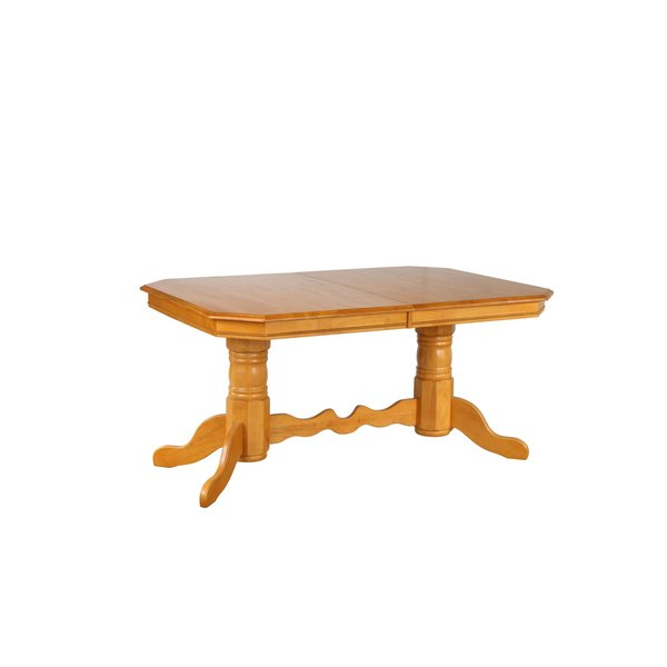 Sunset Trading Double Pedestal Butterfly Top Trestle Dining Table l Light Oak