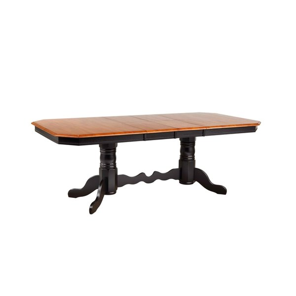 Sunset Trading Double Pedestal Trestle Dining Table l Antique Black with Cherry Finish Butterfly Top