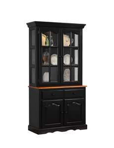 Sunset Trading Keepsake Buffet and Lighted Hutch l Antique Black and Cherry