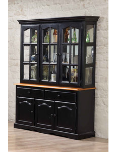 Sunset Trading Treasure Buffet and Lighted Hutch l Antique Black and Cherry