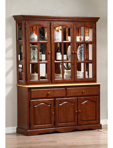Sunset Trading Treasure Buffet and Lighted Hutch l Nutmeg and Light Oak