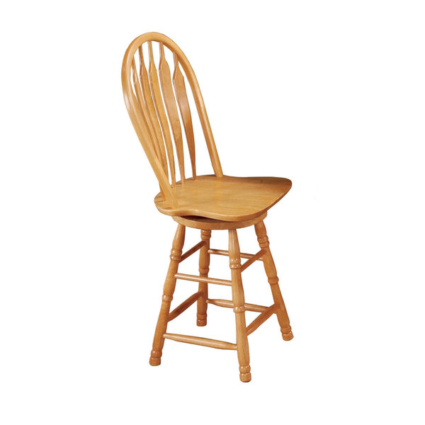 "Sunset Trading 24"" Swivel Barstool l Light Oak Finish"