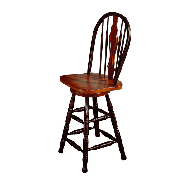 """Sunset Trading 24"""" Keyhole Barstool l Antique Black with Cherry Accents"""