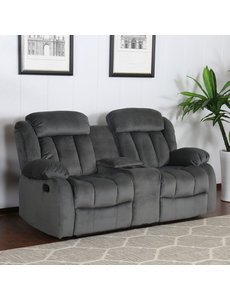 Sunset Trading Madison Reclining Loveseat with Console - Charcoal Slate