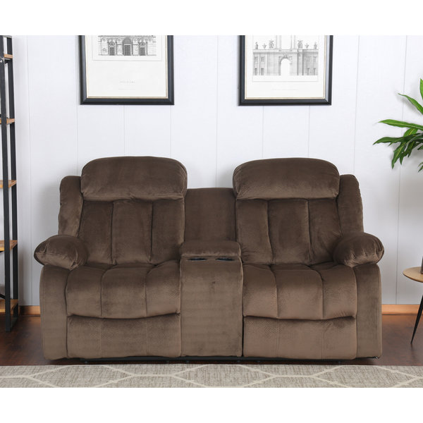 Sunset Trading Madison Reclining Loveseat with Console - Chocolate