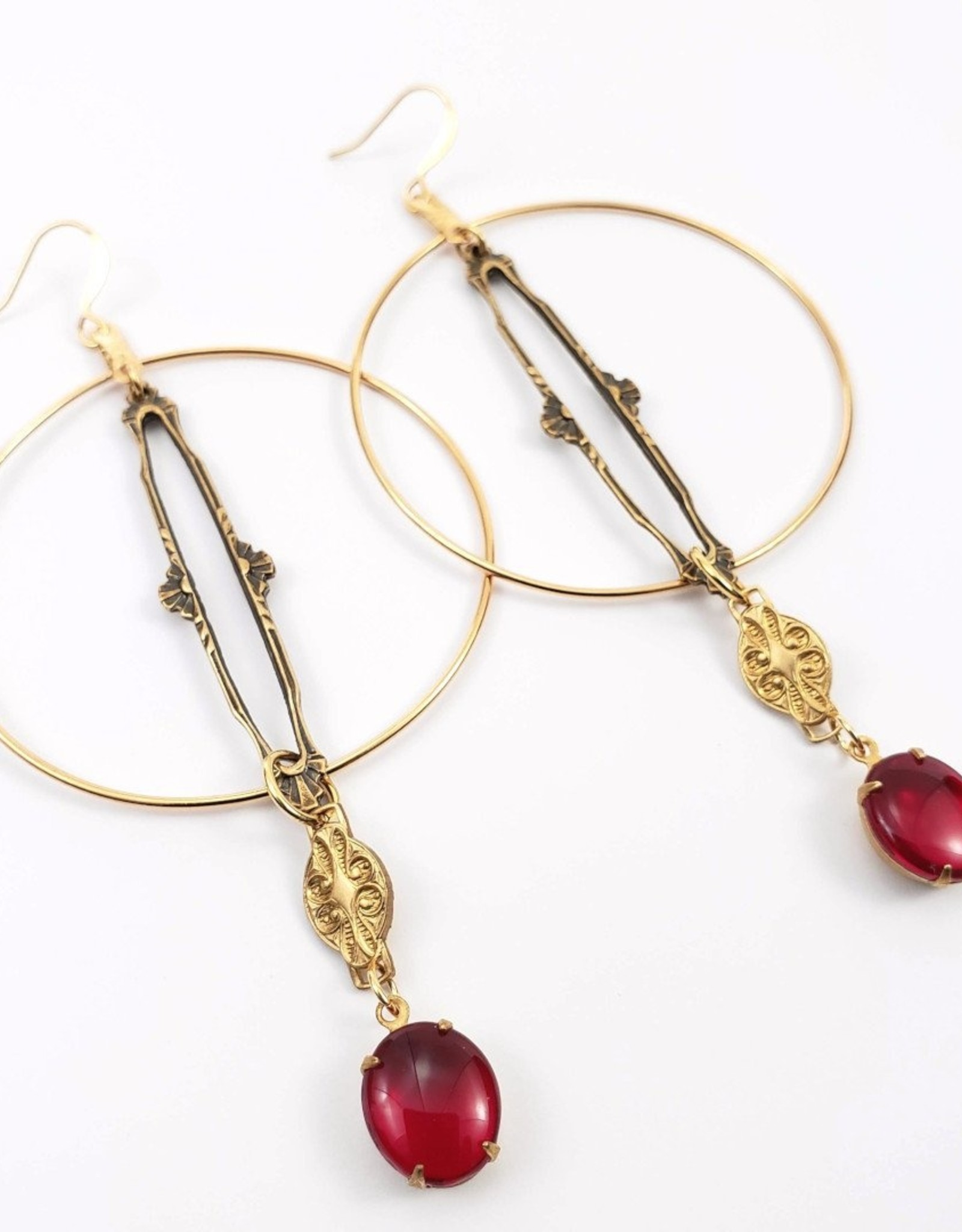 Vintage Ruby Glass Hoops