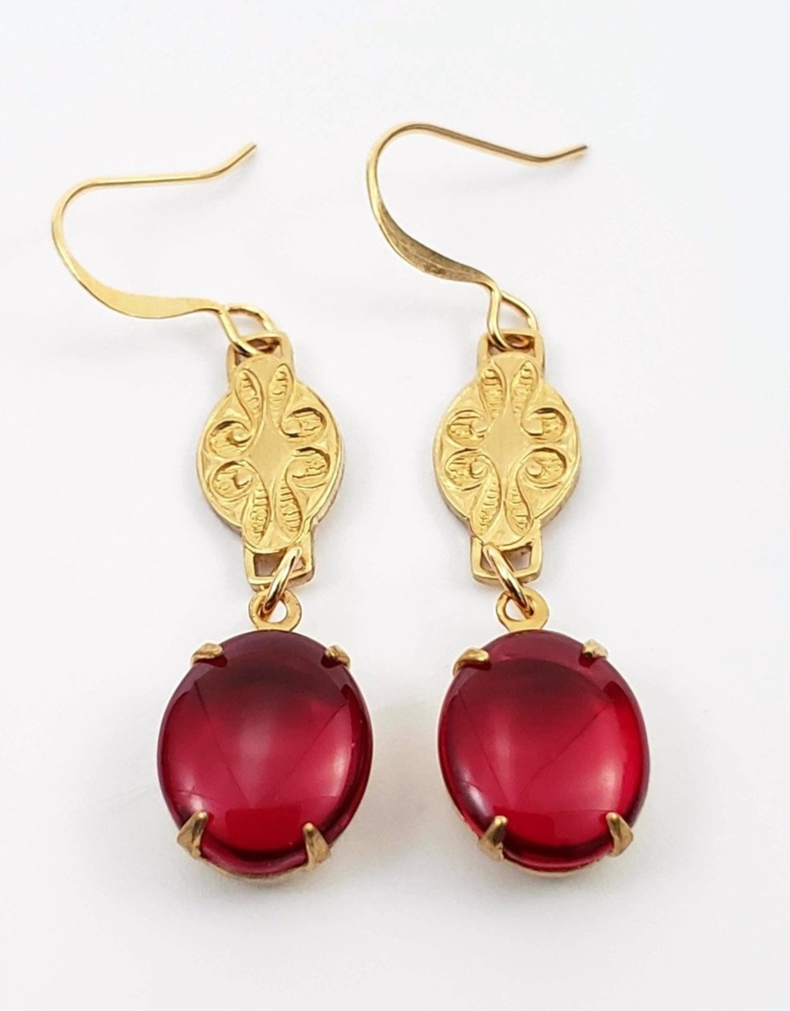 Retro Ruby Drop Earrings