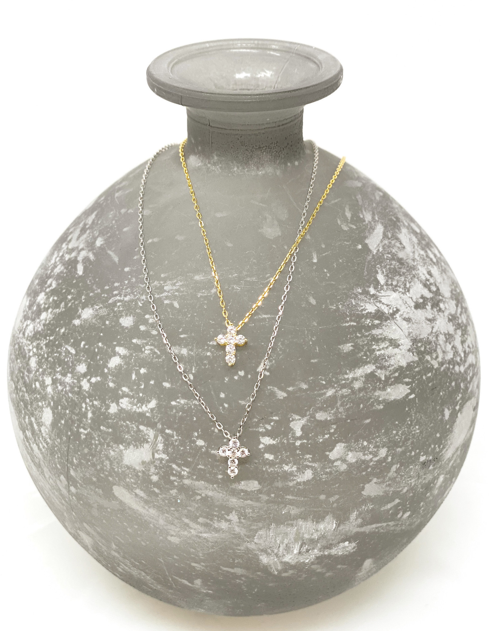 Small Pave Cross Necklace-Gold