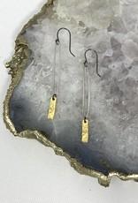 Elongated Sterling Hoop Earrings-hammered matte gold bar