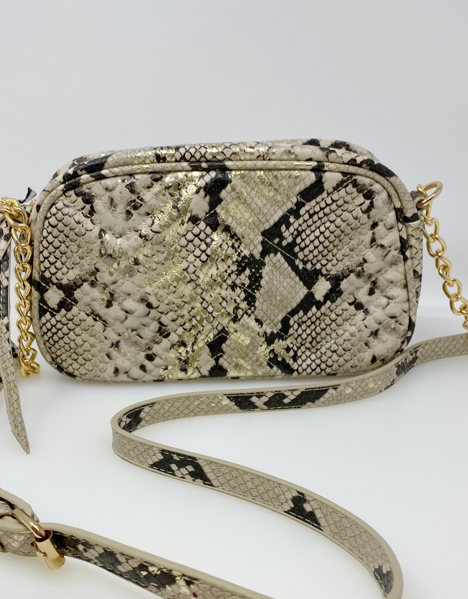 Neutral Snake Skin Purse