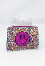 Bright Smiley Beaded Pouch