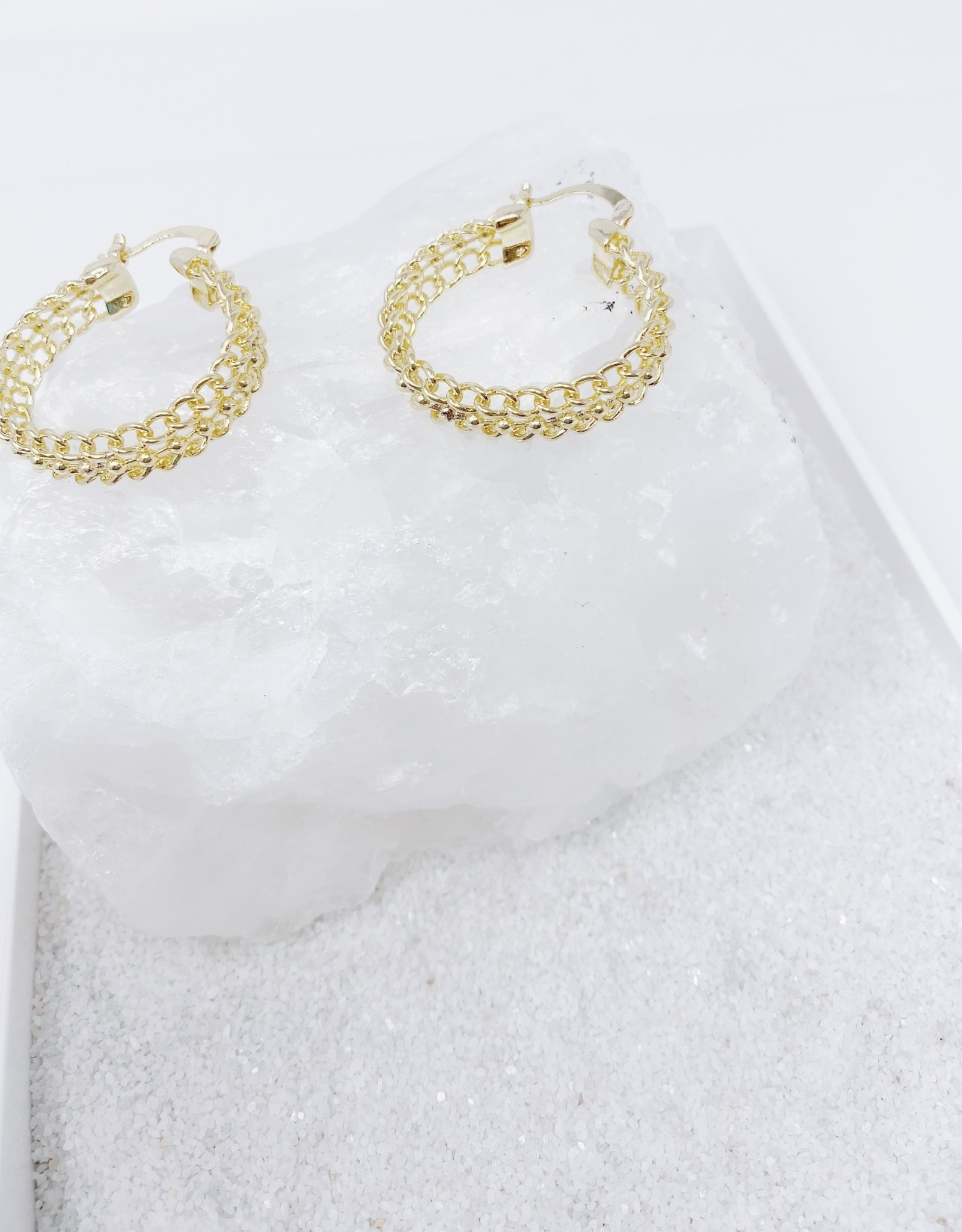 chain hoop earring - gold