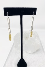 Oxidized Pewter Chain and Hammered gold bar earrings