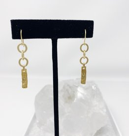 Matte Gold chain and Hammered Gold Bar Earrings