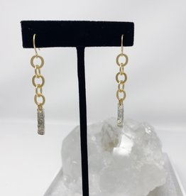 Matte gold chain and hammered silver bar earrings