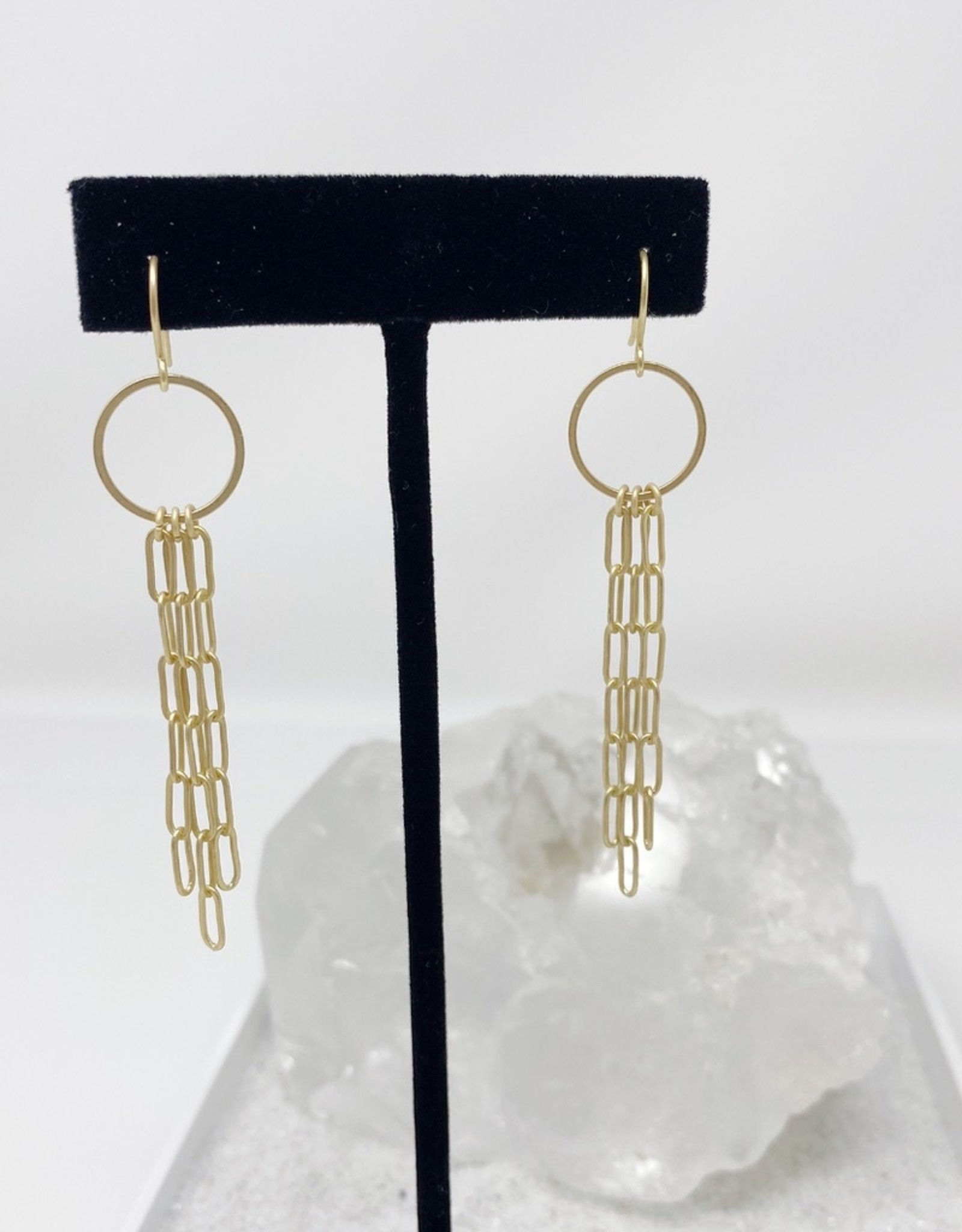 Matte gold ring and chain earrings