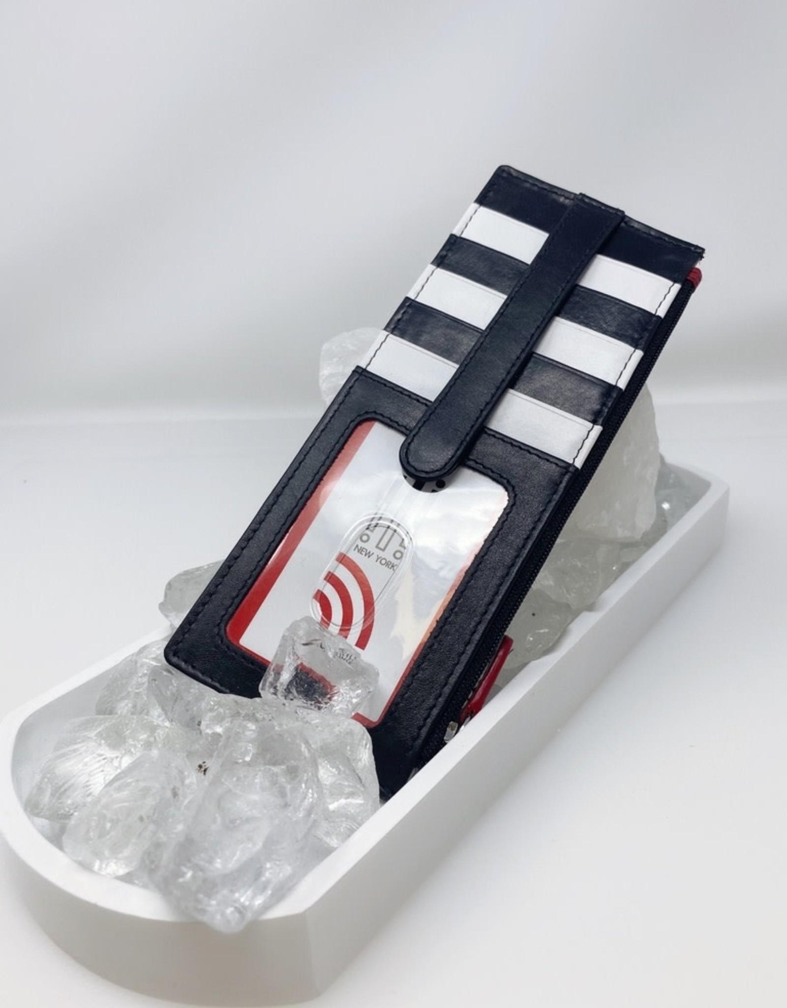 Card Holder with Zip pocket - R/B/W