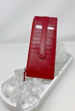 Card Holder with Zip Pocket - Red