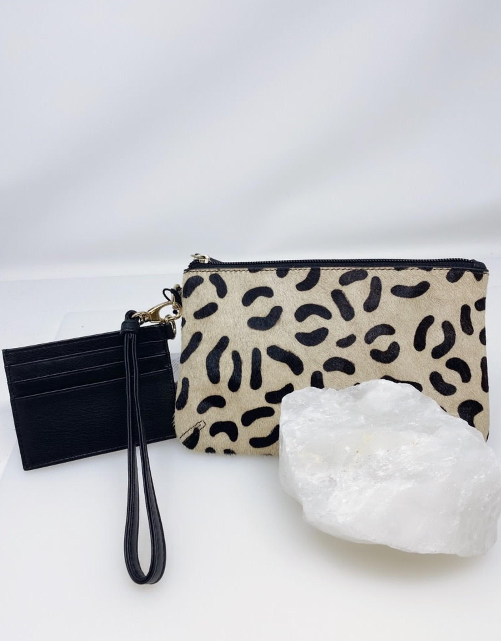 Wristlet Set- Cheetah with Black