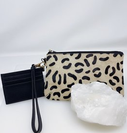 Wristlet Set- Cheetah with Black
