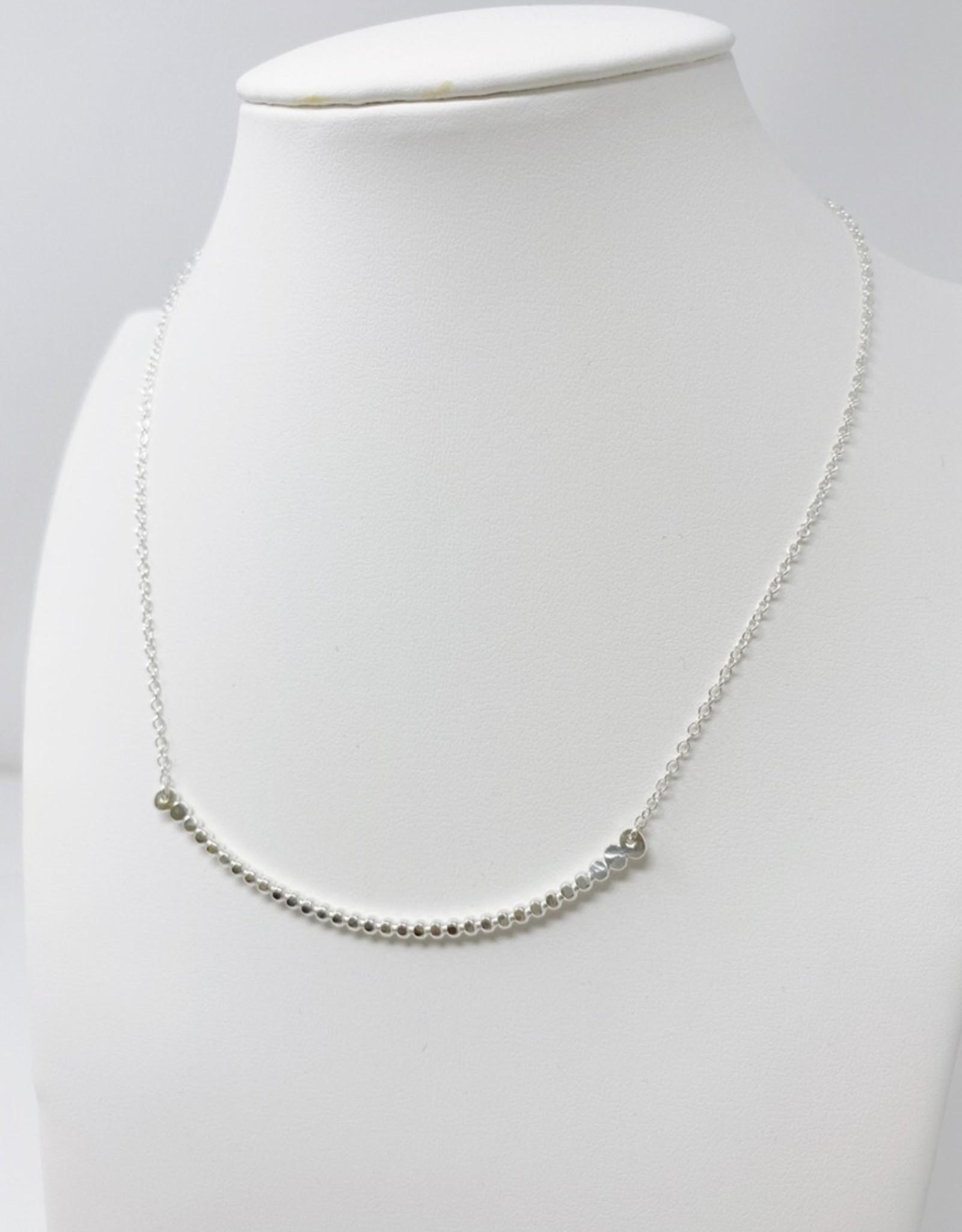 Lotus Silver Pebble Necklace