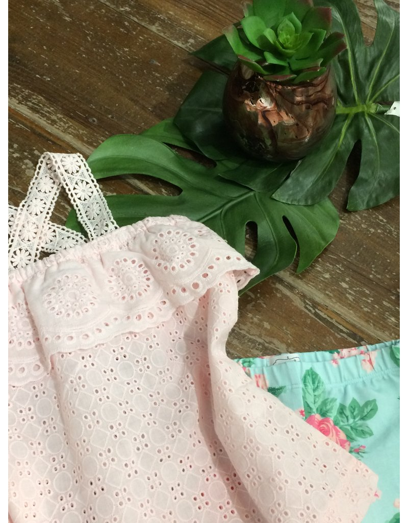 Floral Eyelet Tunic & Capr