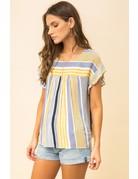 Stripe Top Ruffle Sleeve