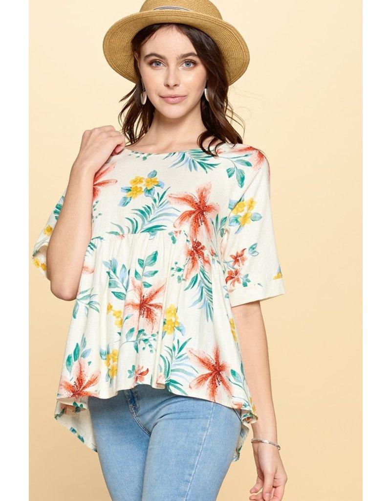Floral Print Babydoll Top