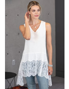 Lace Trim High Low Tank
