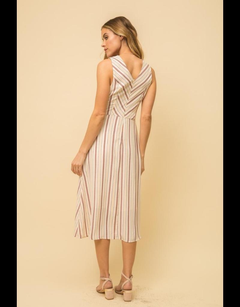 Tie Front Linen Stripe Dre